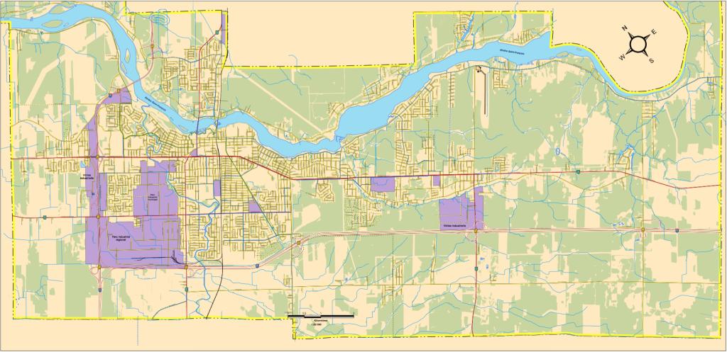 Carte des parcs industriels de Drummondville
